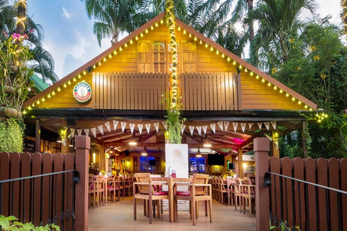 Shows K-Hotel Bavarian Beer Graden front Entry within the the K-Hotel in Patong Phuket