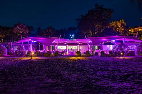 Night shot of M Beach Club Phuket | Mai Khao