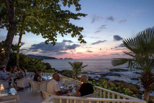 View of sunset from Joe's Downstairs Restaurant Patong Phuket